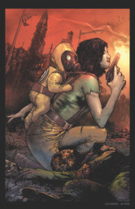 Pandemica #1 Cover. IDW Publishing. September 2019. - A woman crouches, holding a gun, with what looks like a baby in a gasmask strapped to her back
