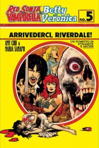 Cover of Red Sonja and Vampirella Meet Betty and Veronica #5, C 2019 Dynamite Comics - A circle portrait of Sonja, Vampirella, Betty, and a grinning red-eyed skull, with Veronica lying injured in the foreground