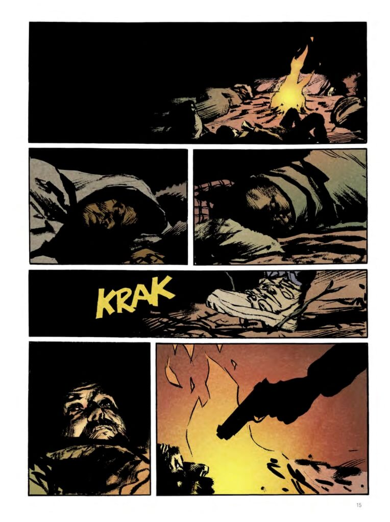 Snowpiercer: Extinction Page 16. Matz Rochette and Jean-Marc Rochette. Titan Comics. September 2019 - A sleeping man by a campfire wakes up to find a gun pointed at his face