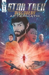 Star Trek: Discovery: Aftermath #1 Cover. IDW Publishing. September 2019. - Portraits of Star Trek Discovery characters looking on above what looks like a glowing red silhouette in space, with two spaceships flying below