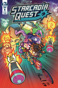 Starcadia Quest #1 Cover. IDW Publishing. September 2019. - Three kids bike away from a pair of missiles