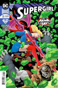 Cover for Supergirl #33 - Marc Andreyko (writer), Julio Ferreira (inks, pages 12-13), Scott Hanna (finishes), Kevin Maguire (art and cover), Tom Napolitano (letters), Eduardo Pansica (pencils, pages 12-13), FCO Plascencia (colors), Chris Sotomayor (colors and cover) - Supergirl fighting Rogol Zaar in a field of Kryptonite