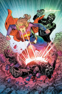Cover for Supergirl #34 - Marc Andreyko (writer), Julio Ferreira (inks), Jesus Merino (cover), Tom Napolitano (letters), Eduardo Pansica (pencils), FCO Plascencia (colors and cover) - Supergirl fighting two Leviathan pawns