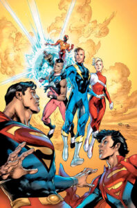 "Cover for Superman #15 - Oclair Albert (inks), Brian Michael Bendis (writer), Brandon Peterson (art), Joe Prado (inks and cover), Ivan Reis (pencils and cover), Evan ""Doc"" Shaner (art), Dave Sharpe (letters), Alex Sinclair (colors and cover) - Superman and Superboy meeting the new Legion of Super-Heroes"