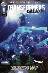 Transformers Galaxies #1 Cover. IDW Publishing. September 2019. - An illustration in dark blues and purples of Transformers huddled together at the bottom of a hill