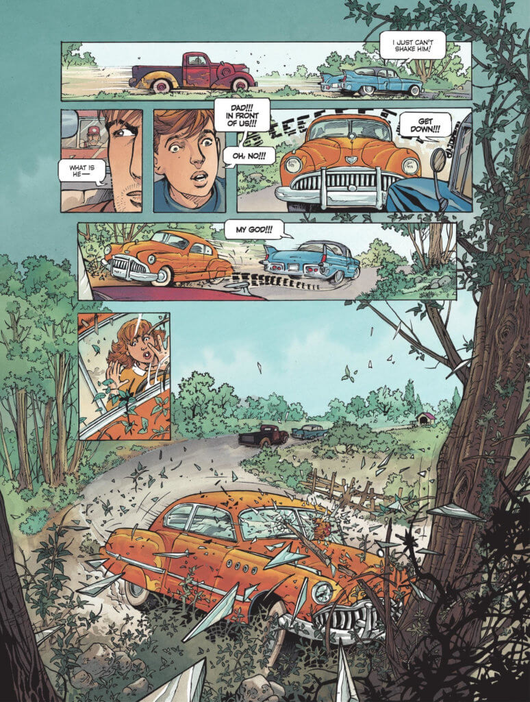 The Route 66 List Volume 1 Page 32. September 20, 2019-Eric Stalner. Europe Comics. September 2019. Panels depict a blue car being followed by a red truck, interrupted by the driver not seeing and hitting an orange car which then crashes