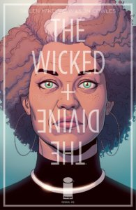 Cover for The Wicked + The Divine #45 - Clayton Cowles (letters), Dee Cunniffe (flatter), Kieron Gillen (writer), Jamie McKelvie (artist), Matthew Wilson (colors), Image Comics, September 4, 2019 - An old Laura Wilson