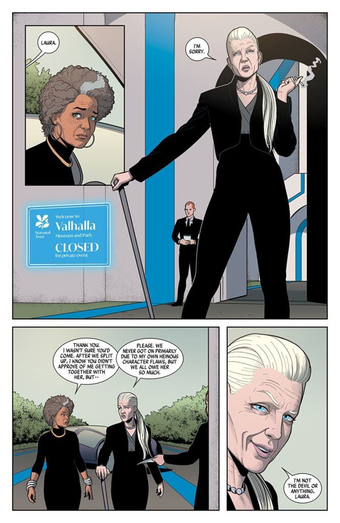Page from The Wicked + The Divine #45 - Clayton Cowles (letters), Dee Cunniffe (flatter), Kieron Gillen (writer), Jamie McKelvie (artist), Matthew Wilson (colors), Image Comics, September 4, 2019 - Laura Wilson and Eleanor Rigby meeting at Valhalla for the funeral of a loved one
