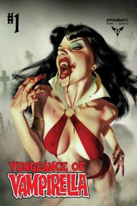 Vampirella looking vicious with blood smeared on her fingers and lips