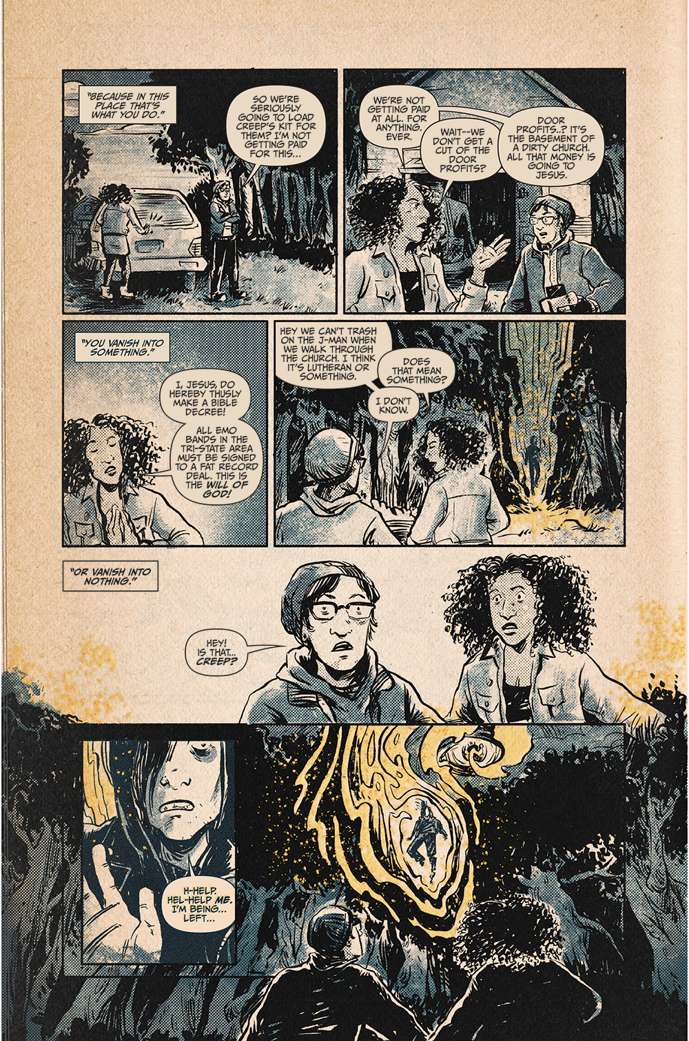 "Page 2 from ""Vanishing,"" showing the characters finding their missing friend, who is floating above the ground and says they need help because they are being left."