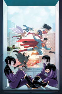 Cover for Wonder Twins #7 - Stephen Byrne (art and cover), Mark Russell (writer), Dave Sharpe (letters) - Jan and Zayna sitting in a window as the Justice League go by