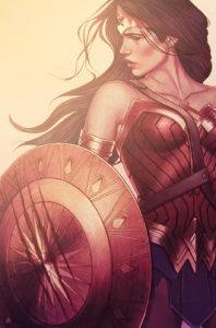 Cover for Wonder Woman #79 - Pat Brosseau (letters), Scott Eaton (pencils), Romulo Fajardo Jr. (colors), Wayne Faucher (inks), Jenny Frison (cover), Jose Marzan Jr. (inks), G. Willow Wilson (writer) - Wonder Woman holding a shield prepped for battle