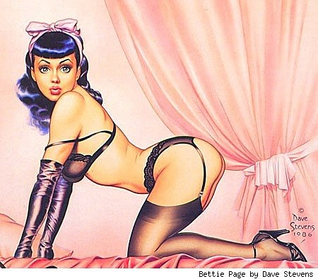 A pinup of Bettie Page in lingerie, behind a pink curtain, by Dave Stevens