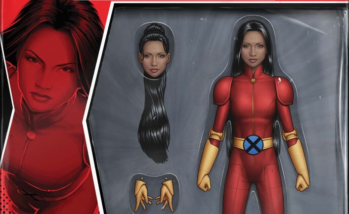 An action figure of M in her Generation X red costume with yellow gloves and boots
