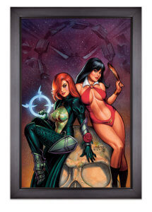 Giclee of the cover of Dawn/Vampirealla #1 by Joseph Michael Lisner C 2019 Dynamite Comics - Vampirella and Dawn pose on a giant skull