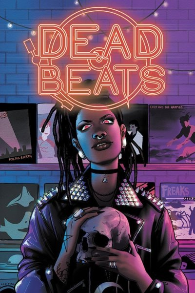 The cover of the Dead Beats anthology, showing a young Black woman in a studded black jacket holding a skull.