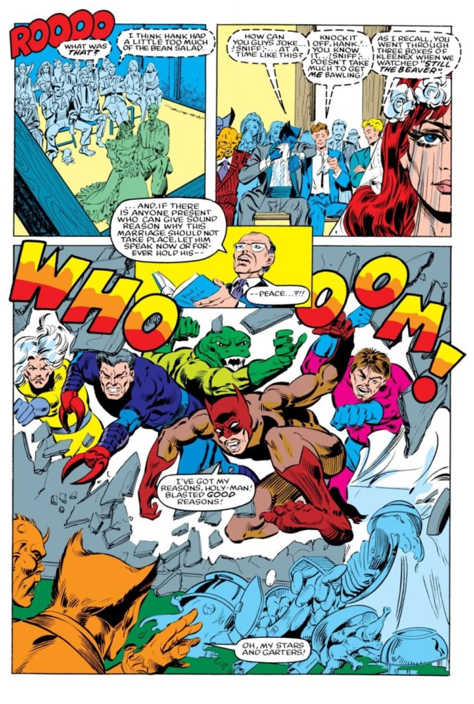 Panels from The New Defenders #125 - C Marvel Comics - The wedding ceremony is interrupted by a group of capes busting through a wall Kool-Aid Man style