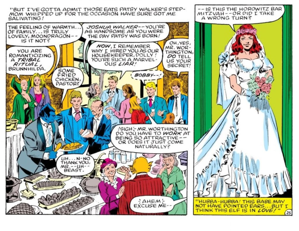 Panels from The New Defenders #125 - The guests at Patsy Walker's wedding eat at the buffet tablet before Patsy herself shows up in wedding white