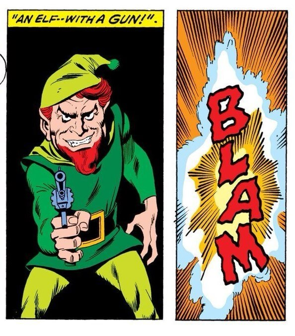 "C Marvel Comics - Panels show an elf with a gun, captioned ""An elf -- with a gun!"" followed by a BLAM sound effect"