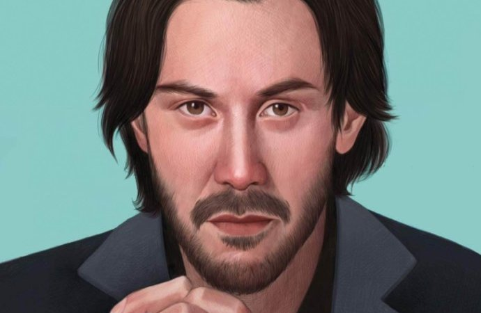 An illustration of Keanu Reeves looking thoughtfully at the viewer