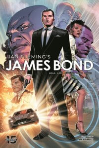 Cover of James Bond #1, C 2019 Dynamite Comics - James Bond stands in front of portraits of other characters plus a racing car