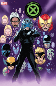 A character in a black jumpsuit with an X-shaped helmet holds their head and grasps forward, with various characters' heads floating in the background