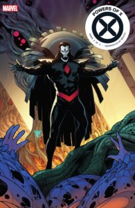 Cover for Powers of X #5 - VC's Clayton Cowles (letterer), Marte Gracia (colorist), Jonathan Hickman (writer), Tom Muller (design), R. B. Silva (artist) - September 25, 2019 Marvel Comics - A dark cloaked figure holds out his hands over a group of large eggs with hands breaking out of them