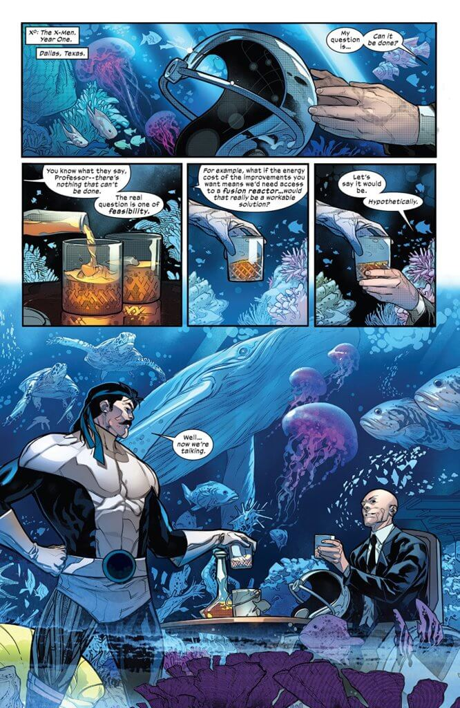Page from Powers of X #5 - VC's Clayton Cowles (letterer), Marte Gracia (colorist), Jonathan Hickman (writer), Tom Muller (design), R. B. Silva (artist) - September 25, 2019 Marvel Comics - Xavier accepts a drink in Forge's aquarium