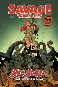 Erica D'Urso cover of Red Sonja: Savage Tales C 2019 Dynamite Comics - Sonja fights to the top of a pile of undead creatures