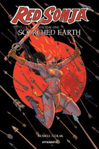 The cover of Red Sonja: Scorched Earth C Dynamite Comics 2019 - Red Sonja mid-leap wielding two swords against a barrage of arrows