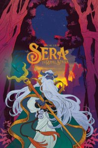 Cover for Sera and the Royal Stars #2 - Raúl Angulo (colourist), Jim Campbell (letterer), Tim Daniel (designer), Audrey Mok (artist), Jon Tsuei (writer) August 28, 2019 - A purple faced man with horns and long white hair and beard looks back. He wears flowing robes and holds a staff