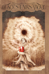 A person holds a red box as a storm or portal brews above in the sky