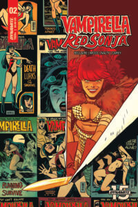 Cover of Red Sonja and Vampirella #2 C 2019 Dynamite Comics - Red Sonja cuts through a wall of Vampirella comics covers