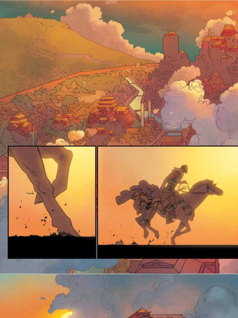 Page from The White Trees #2, Kris Anka, Matt Wilson, Image Comics, September 2019 - A cityscape paired with images of a horseback rider approaching