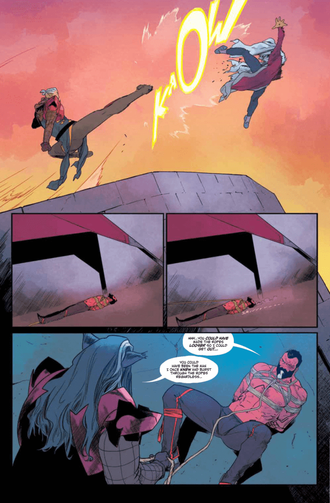 Page from The White Trees #2, Kris Anka, Matt Wilson, Image Comics, September 2019 - A character delivers a flying kick to another, before the focus switches to another character bound and on the ground