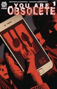 A red hand holds a smart phone displaying a red skull, dripping with blood.
