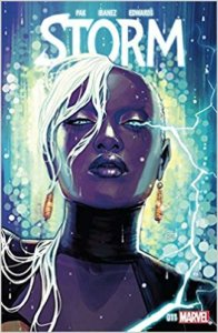A close up of Storm with deep, dark skin and lightning cracking from her eyes