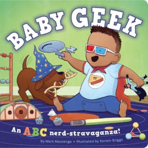 A baby wearing 3D glasses playing with a Starship Enterprise and a dog with a wizard hat and DNA model in its mouth.