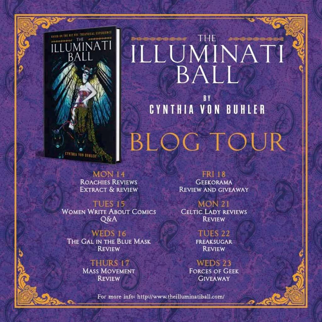 Titan Comics Illuminati Ball Blog Tour promotional image listing sites participating in the event