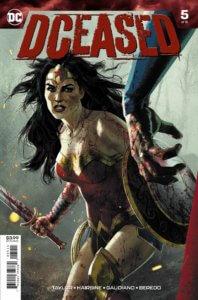 Cover for DCeased #5 - Rain Beredo (colors), Stefano Gaudino (inker), Trevor Hairsine (pencils), Joshua Middleton (cover), Tom Taylor (writer), Saida Temofaonte (letters) - Wonder Woman facing a zombie Superman