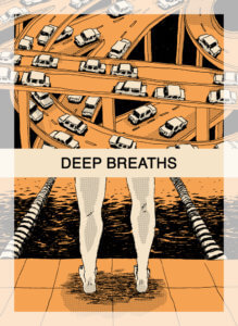 Deep Breaths cover. IDW Publishing October 2019 - An image of cars on a busy set of highways above an image of someone standing at the edge of a pool