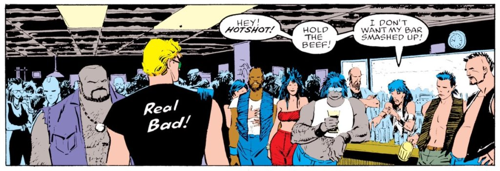 "The back of Johnny Storm's t shirt says ""Real bad!"""
