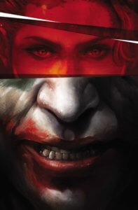 Cover for Joker/Harley: Criminal Sanity #1 - Kami Garcia (writer), Edward Kurz, MD (consultant), Francesco Mattina (cover), Mike Mayhew (art), Richard Starkings (letters), Mico Suayan (art) - Harley's eyes over Joker's Mouth