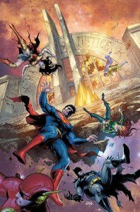 The Justice League Falling in front of a Burning Hall of Justice