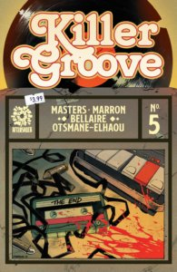 Cover to Killer Groove 5 with a vinyl record in the top half of the cover and a desk strewn with blood splattered tape cassettes and bullets on the bottom.