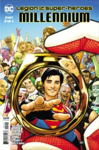 Cover for Legion of Super-Heroes: Millennium #2 - Jordie Bellaire (colors), Brian Michael Bendis (writer), Jim Cheung (artist), Jeff Dekal (art), Tomeu Morey (colors), Nicola Scott (art), Dave Sharpe (letters), Ryan Sook (art and cover) - Superboy being given a flight ring by Saturn Girl in front of the Legion