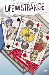 A trio of queens from a deck of cards featuring Max, Chloe, and Rachel each on a card.