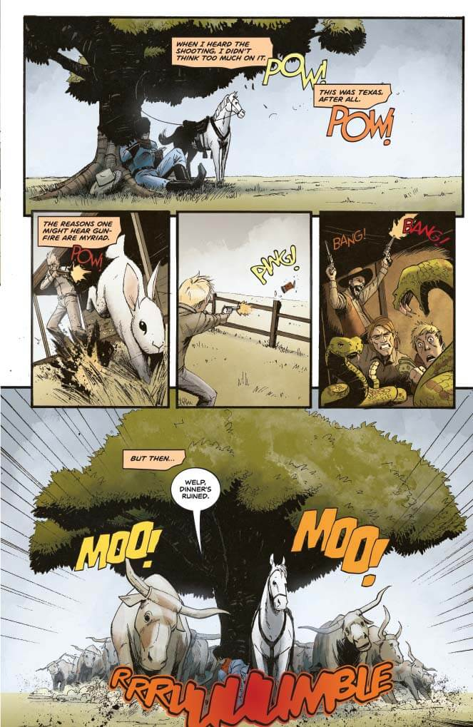 Panel Art for The Lone Ranger: The Devil's Rope TPG - John Cassaday (cover), Hassan Otsmane-Elhaou (letters), Bob Q (colors and art), Mark Russell (writing), Jose Villarubia (cover colors) - September 18th, 2019 Dynamite Comics - The Lone Ranger relaxes beneath a tree before a stampede of cattle ruins his dinner