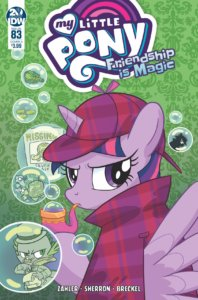 Cover for My Little Pony - Friendship is Magic #83. IDW Publishing October 2019 - Twilight Sparkle in a Sherlock Holmes uniform looks over her shoulder at the viewer