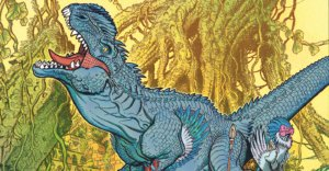 Preview image for Bermuda - A blue dinosaur roars at the sky